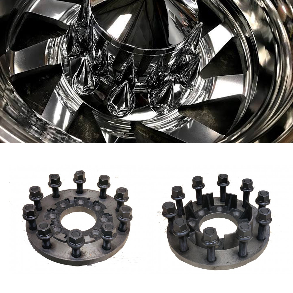 24x8.25 Custom Cut 10 Lug Dually Wheels & 8 To 10 Lug Steel Adapters Package
