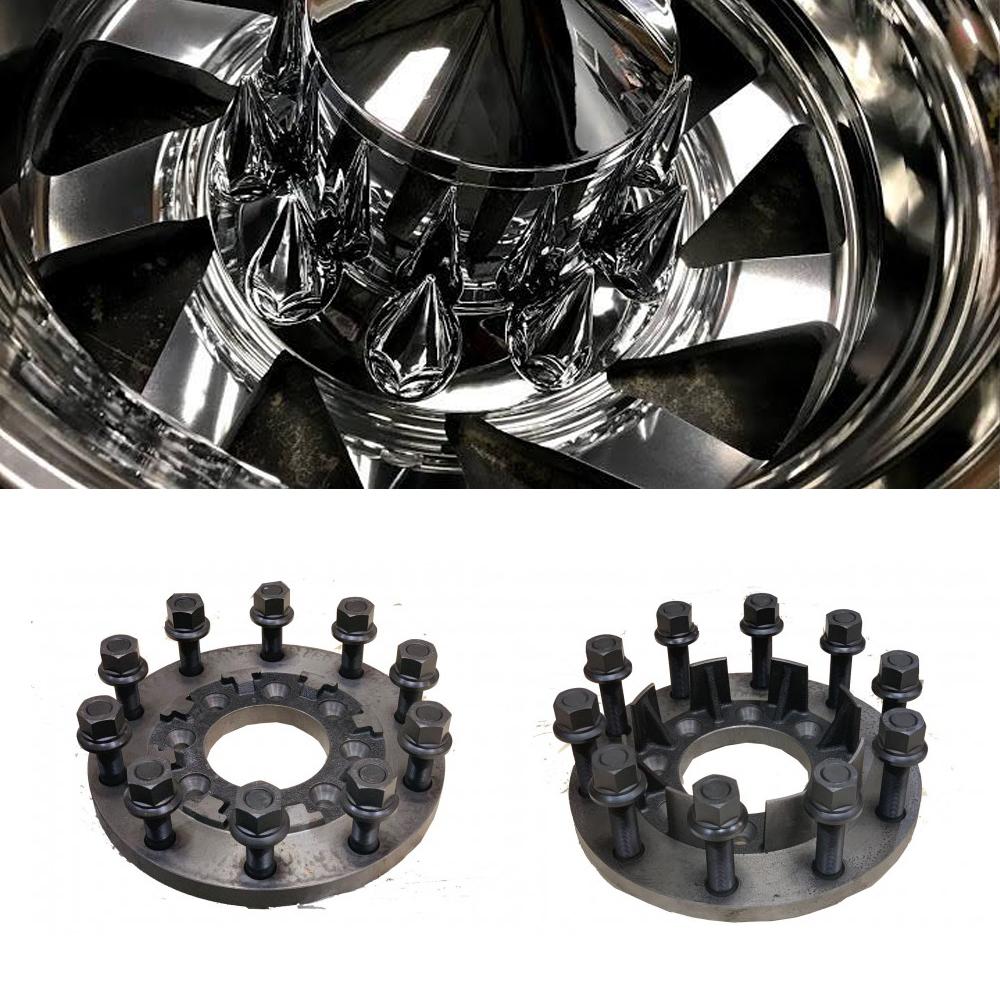24.5x8.25 Custom Cut 10 Lug Dually Wheels & 8 To 10 Lug Steel Adapters Package