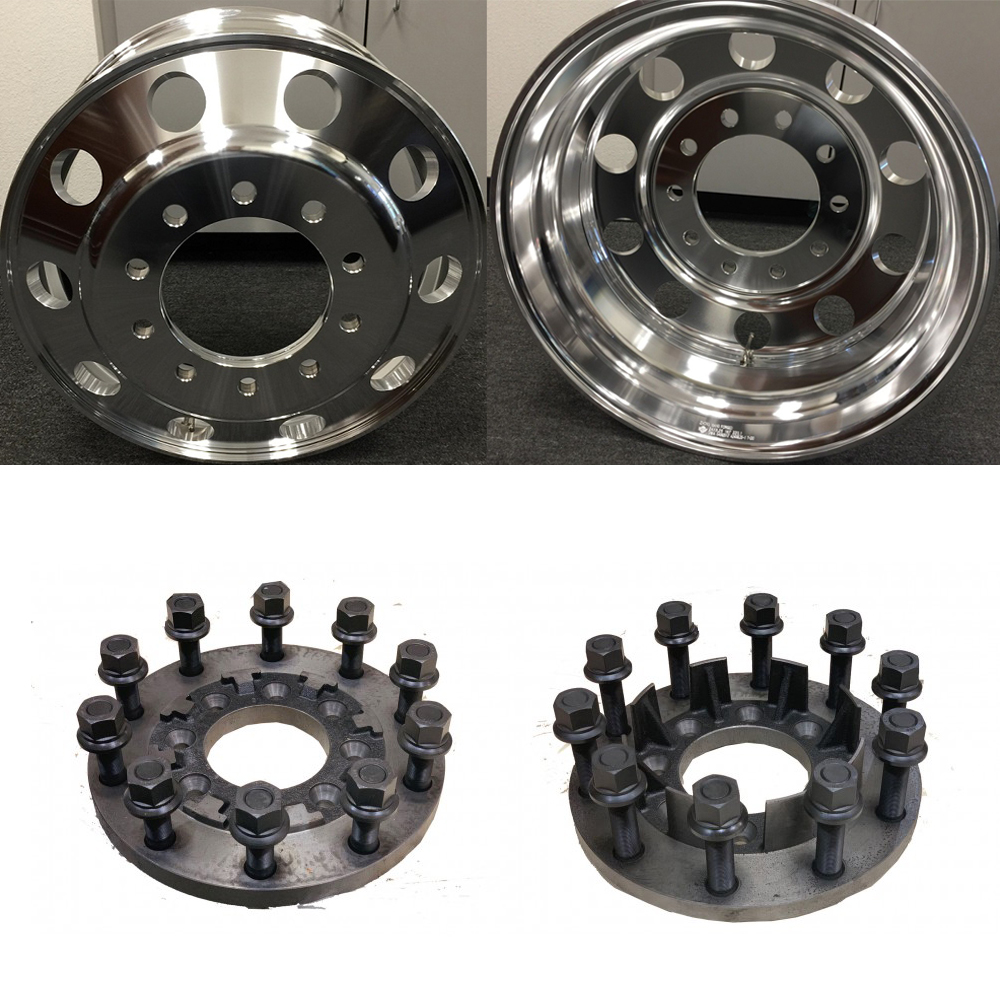 24x8.25 Classics 10 Lug Dually Wheels & Steel Adapters Package