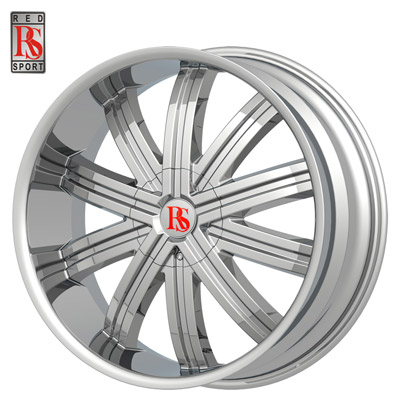 """24"""" Red Sport Series RS11 Chrome Package"""