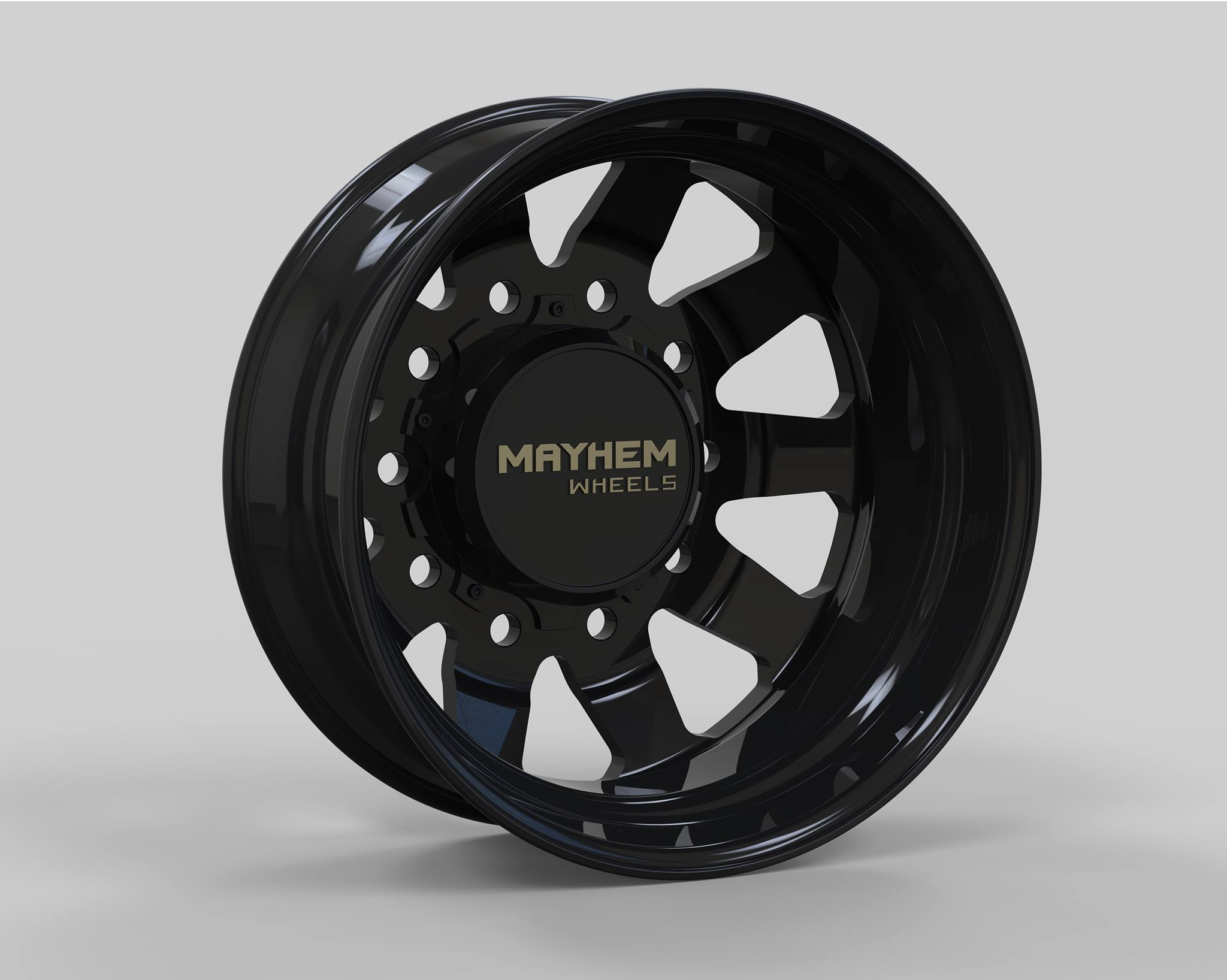 22x8.25 Mayhem Challenger Polished or Gloss Black 10x225 Dually Wheels Package