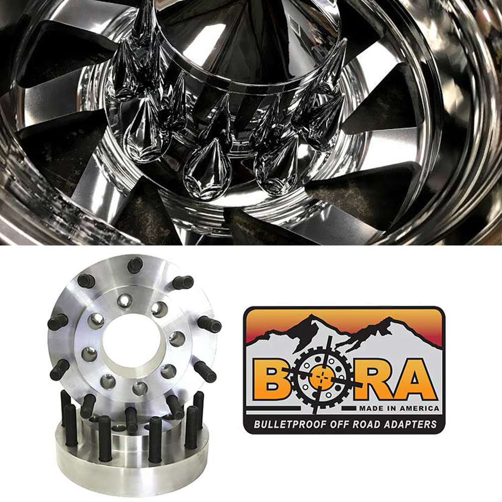 22.5x8.25 Custom Cut 10 Lug Dually Wheels & 8 To 10 Lug Aluminum Adapters Package